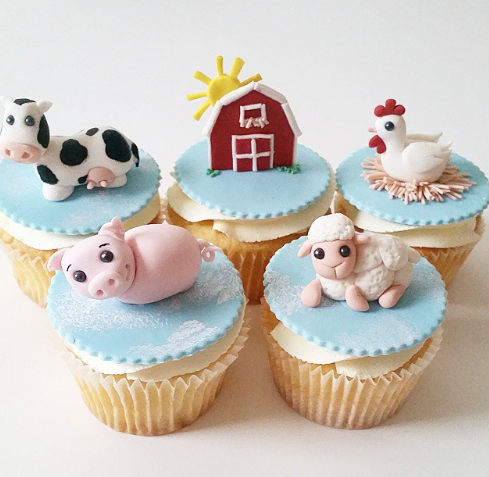 Barnyard themed cupcake toppers
