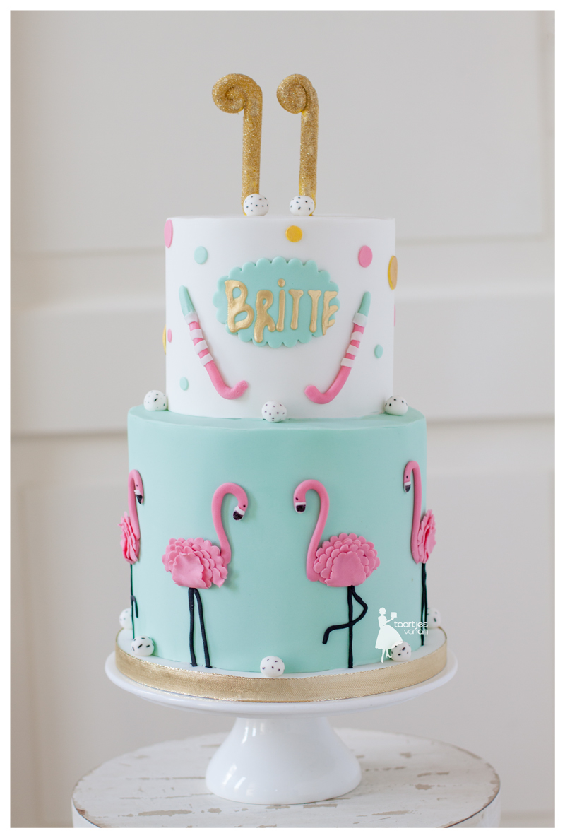 Turquoise & White Pink Flamingo Birthday