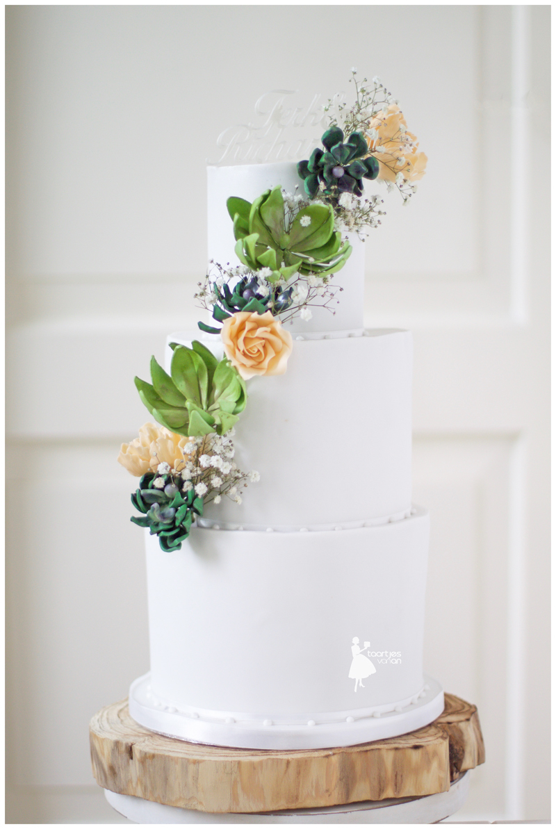 Gum paste succulents and greenery on white fondant wedding cake