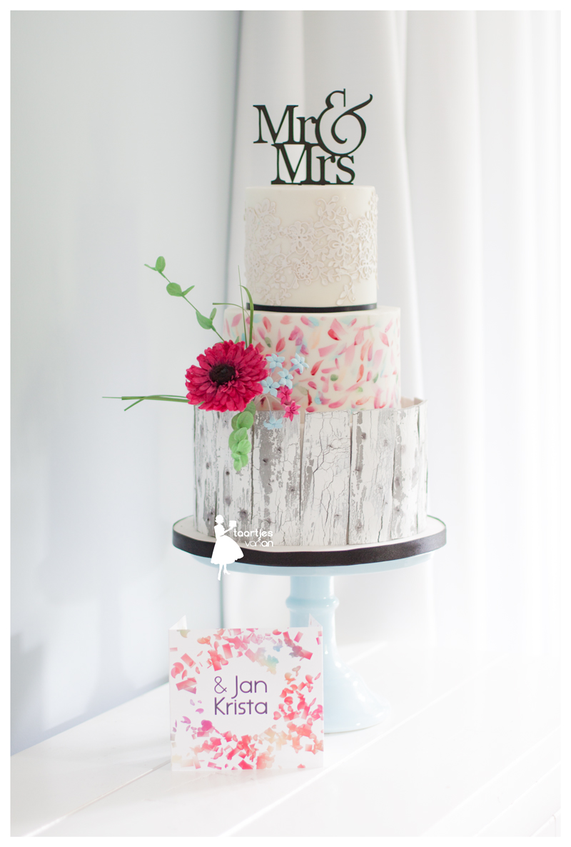 Handpainted and watercolor bark wedding cake