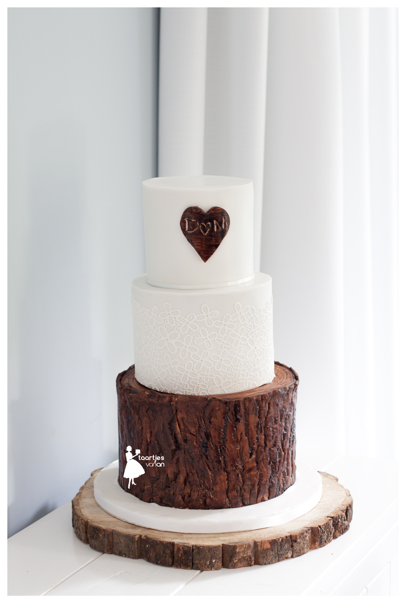 Brown and white tree bark effect wedding cake