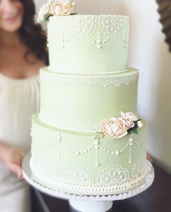 Pastel green wedding cakea
