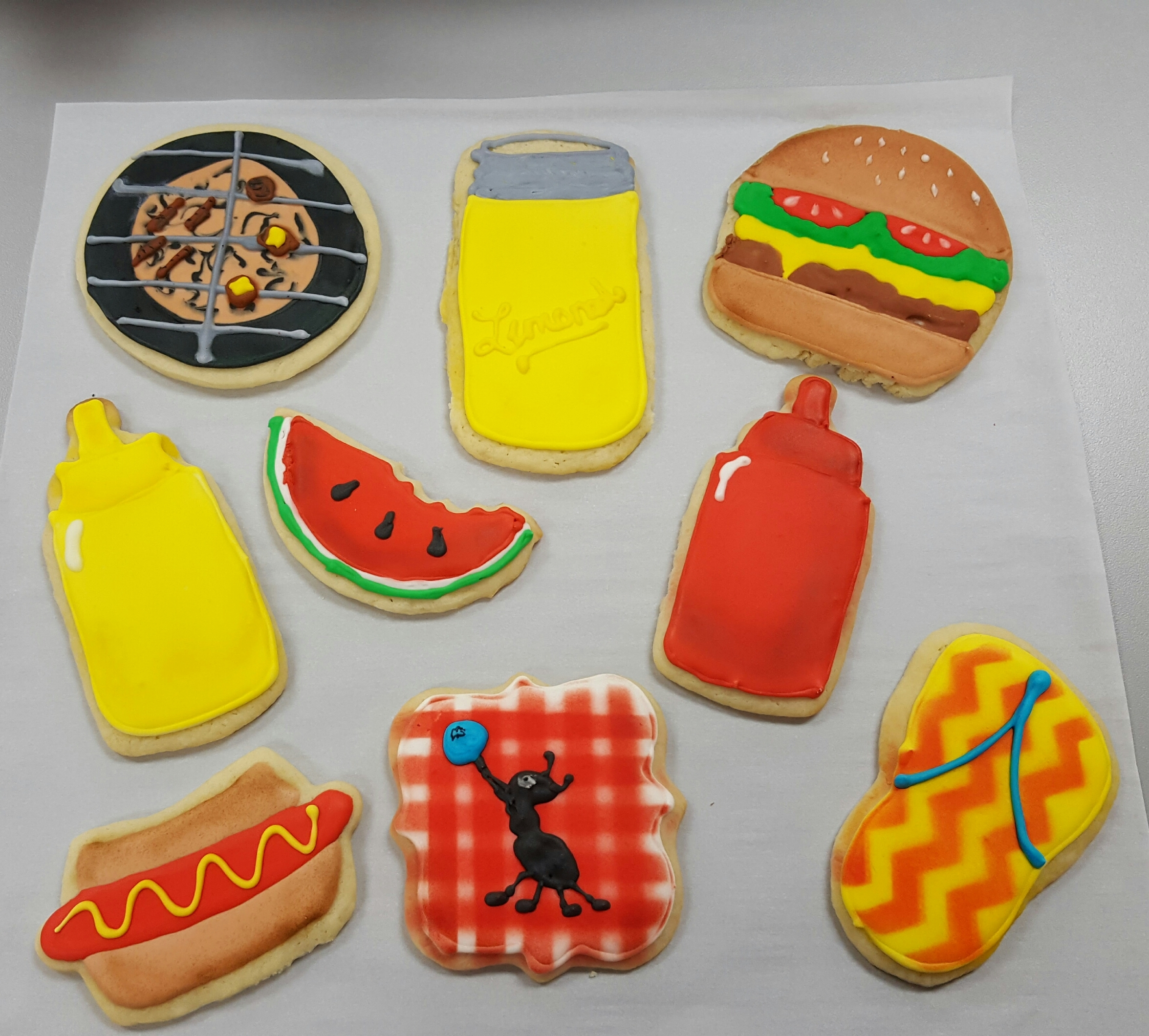 Summer BBQ Fondant cookies