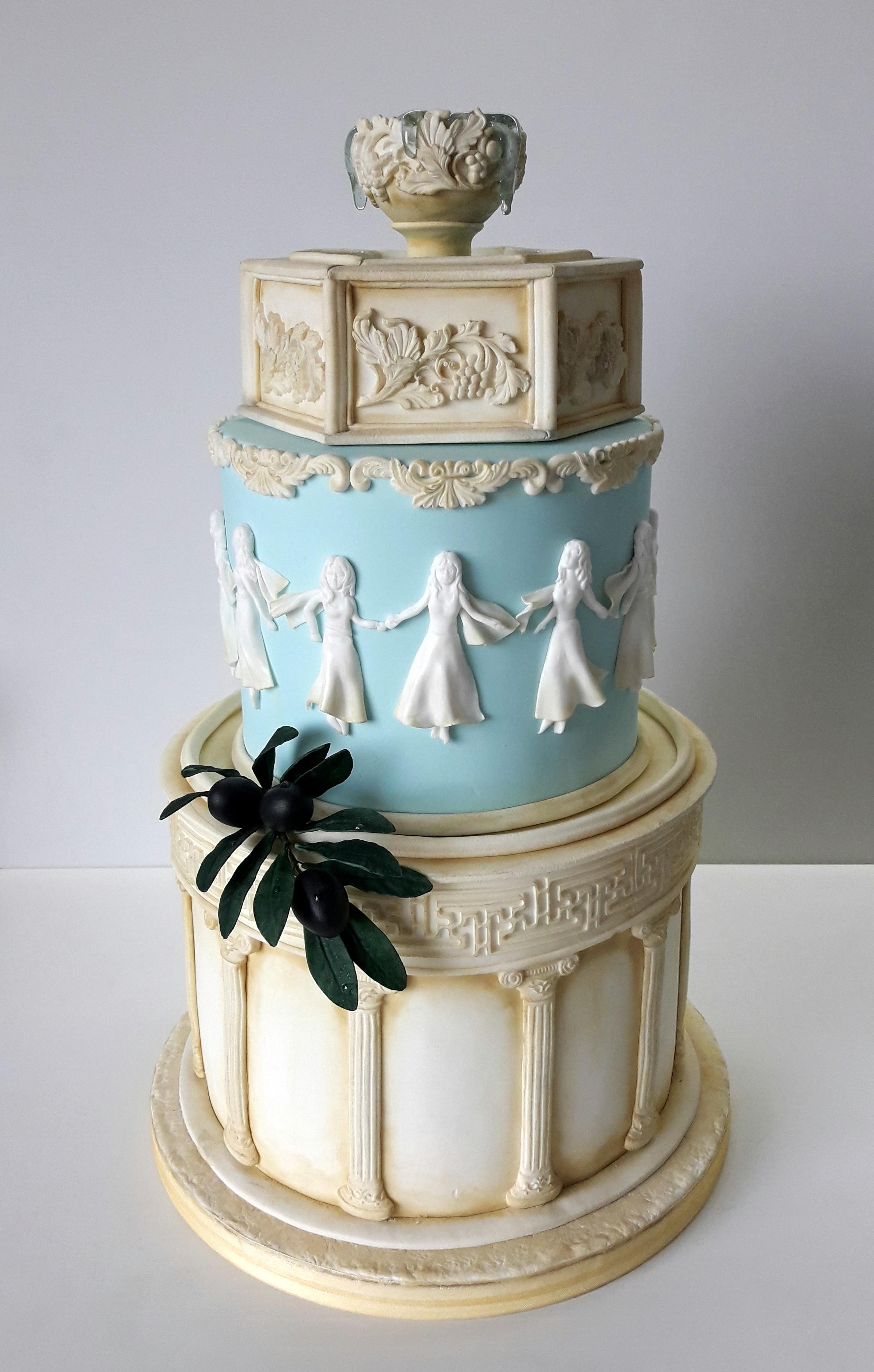 Greek themed fondant wedding cake