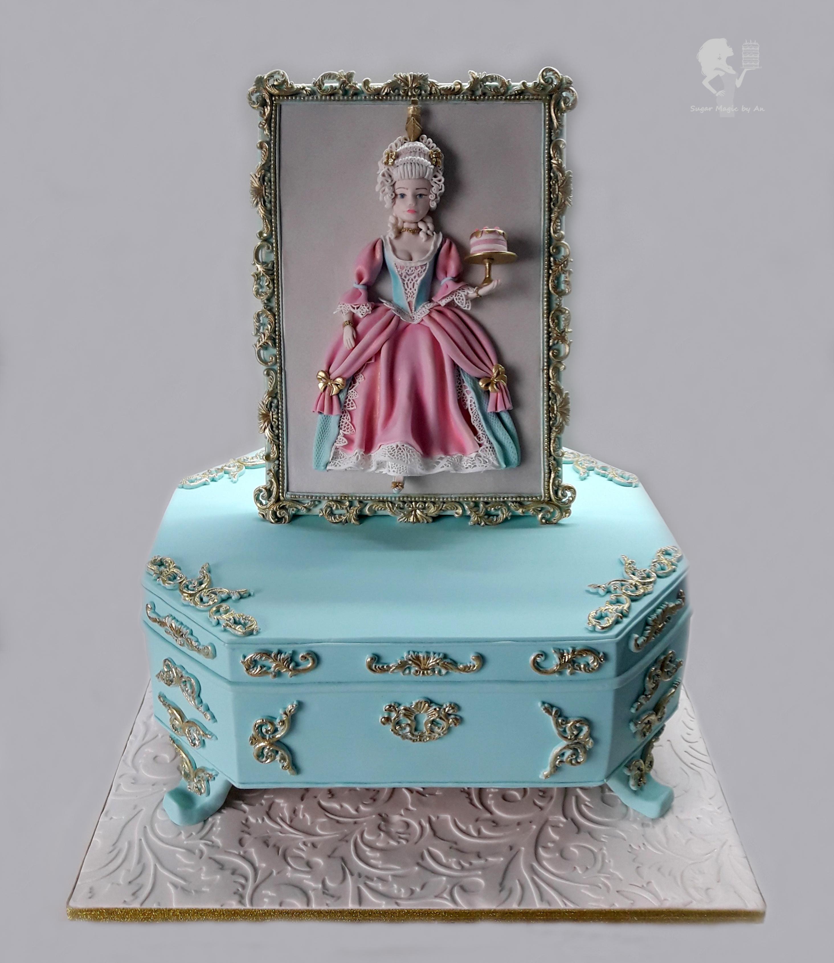Marie Antoinette fondant birthday cake