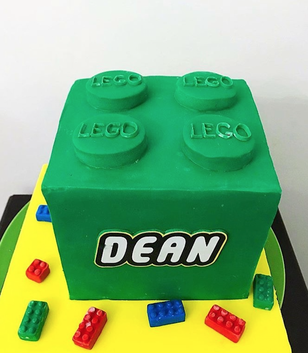 Green lego fondant cake