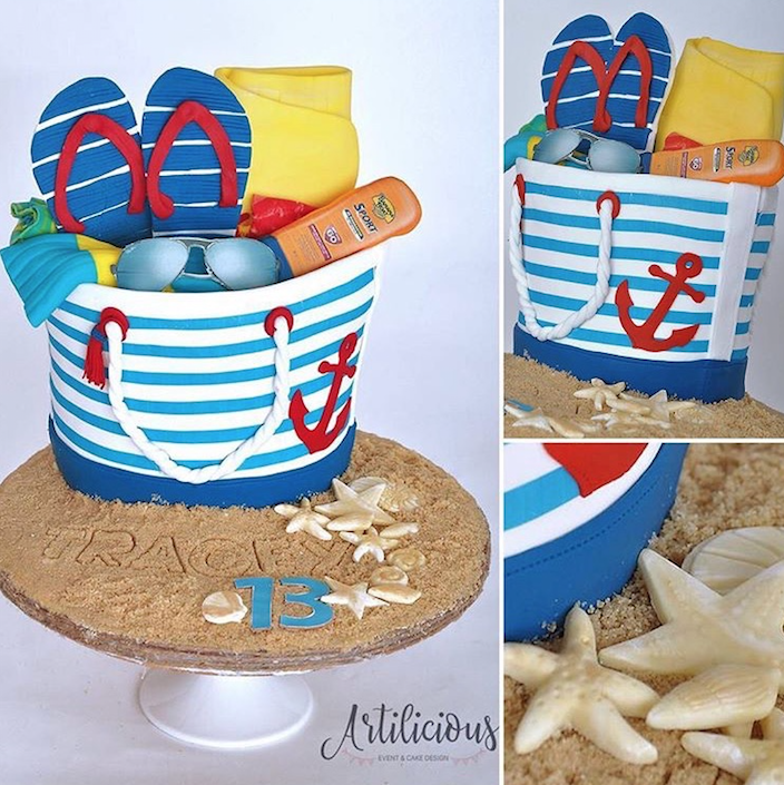 Beach Pail fondant Birthday Cake