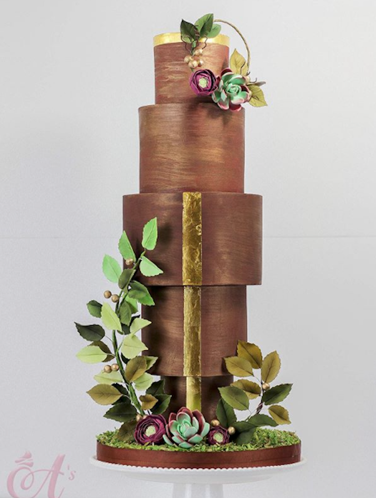 Brown with Gold wedding cake