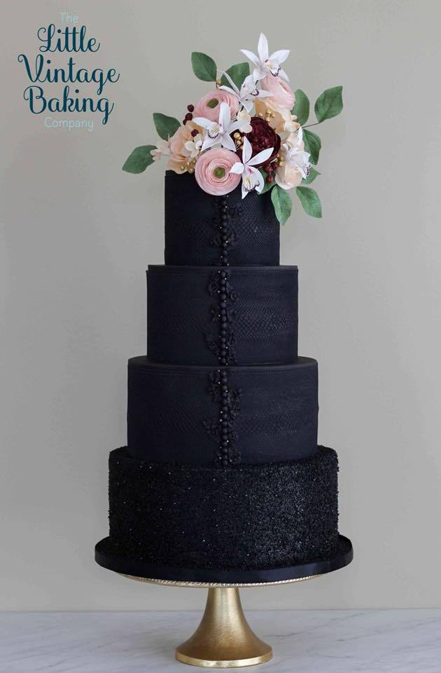 All black fondant wedding cake