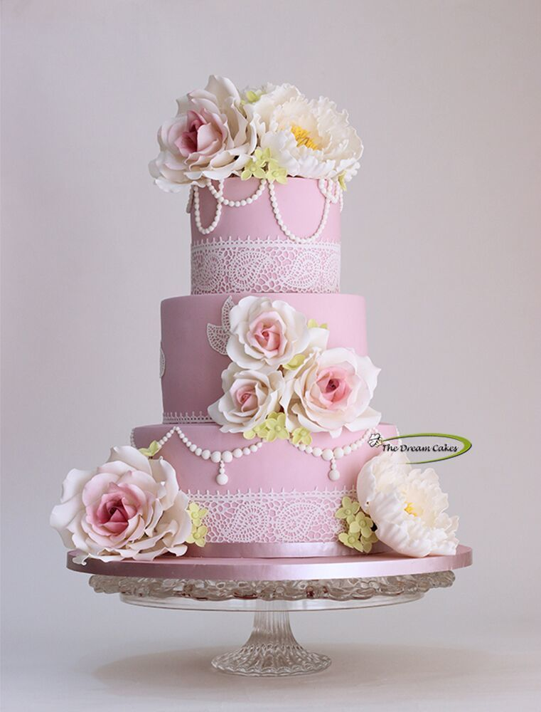 Baby Pink with Sugar Flowers fondant Wedding cake