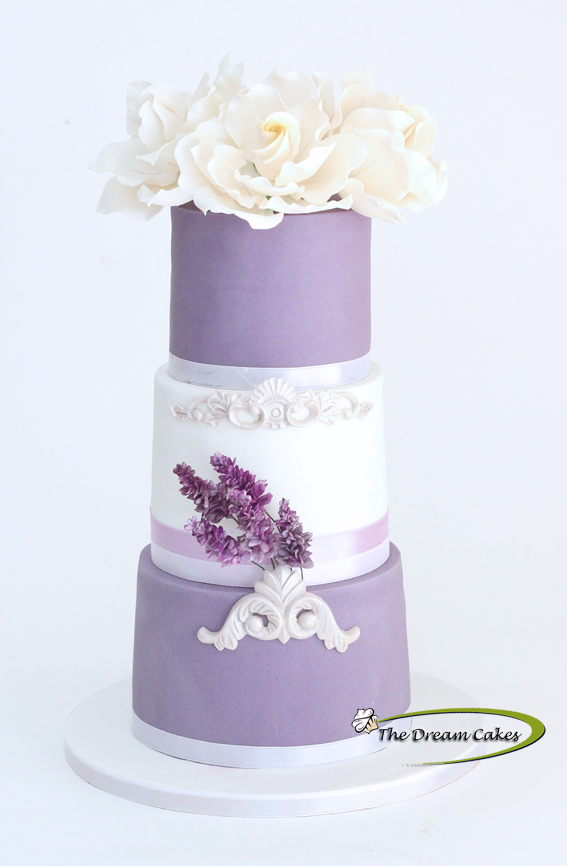 Lavender & White fondant Wedding cake