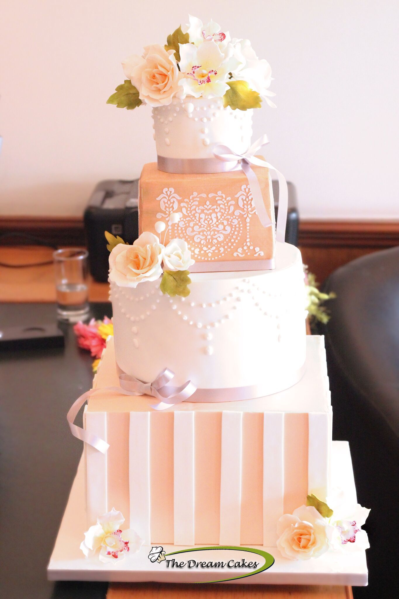 Gift box peach fondant wedding cake