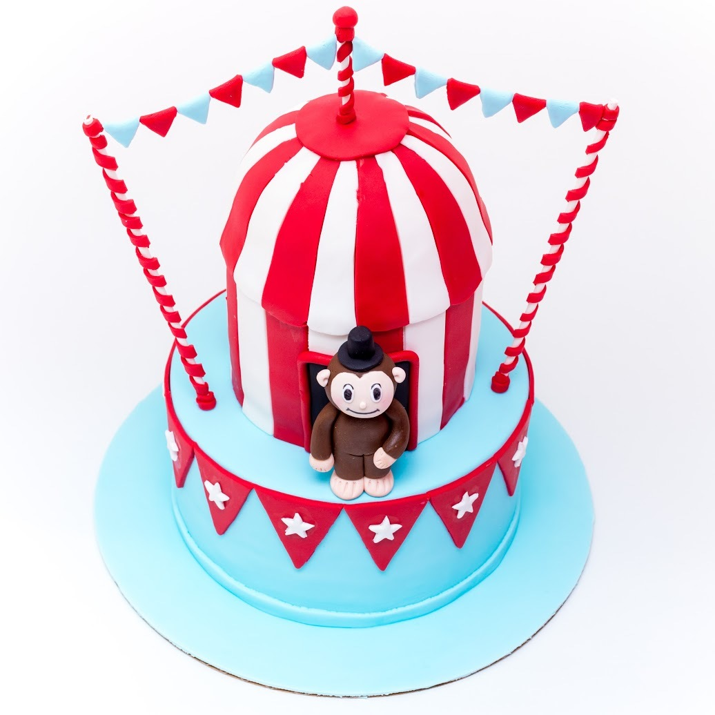 Red white and blue circus cake