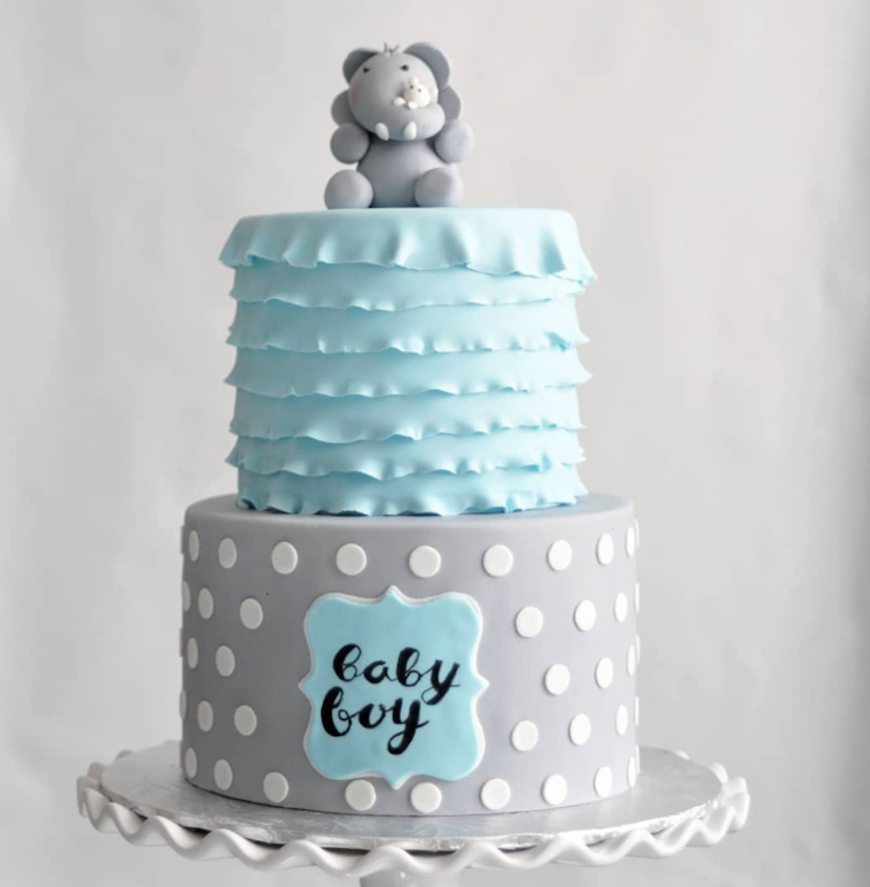 Baby blue and gray fondant elephant baby cake