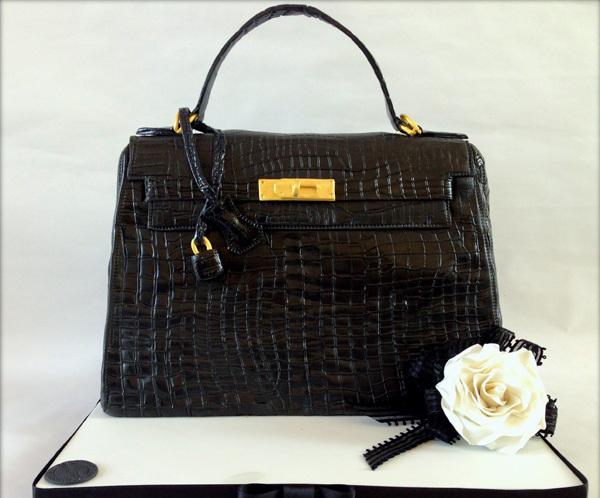 Sleek Black Handbag fondant cake