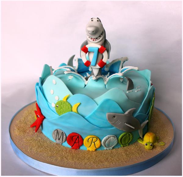 Beach Shark fondant Cake