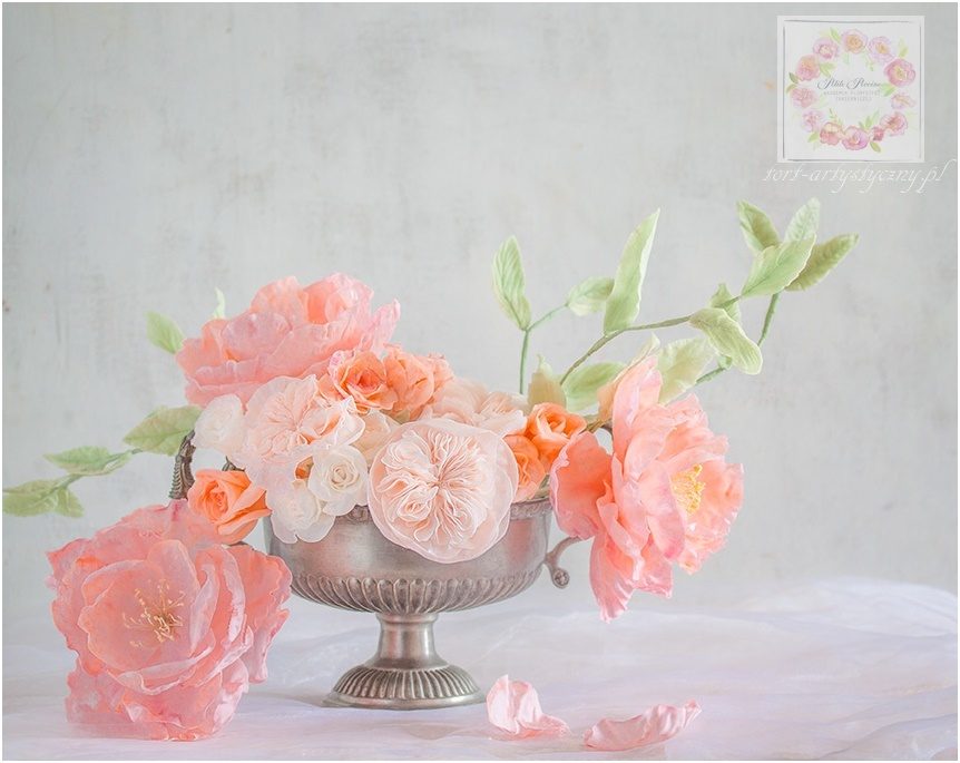 Peach gum paste sugar flowers