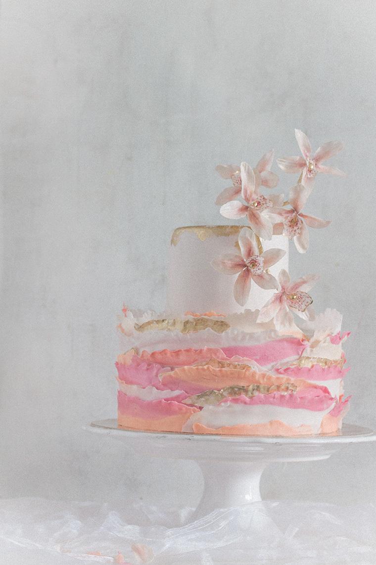 Pink Orange and White ruffle wedding