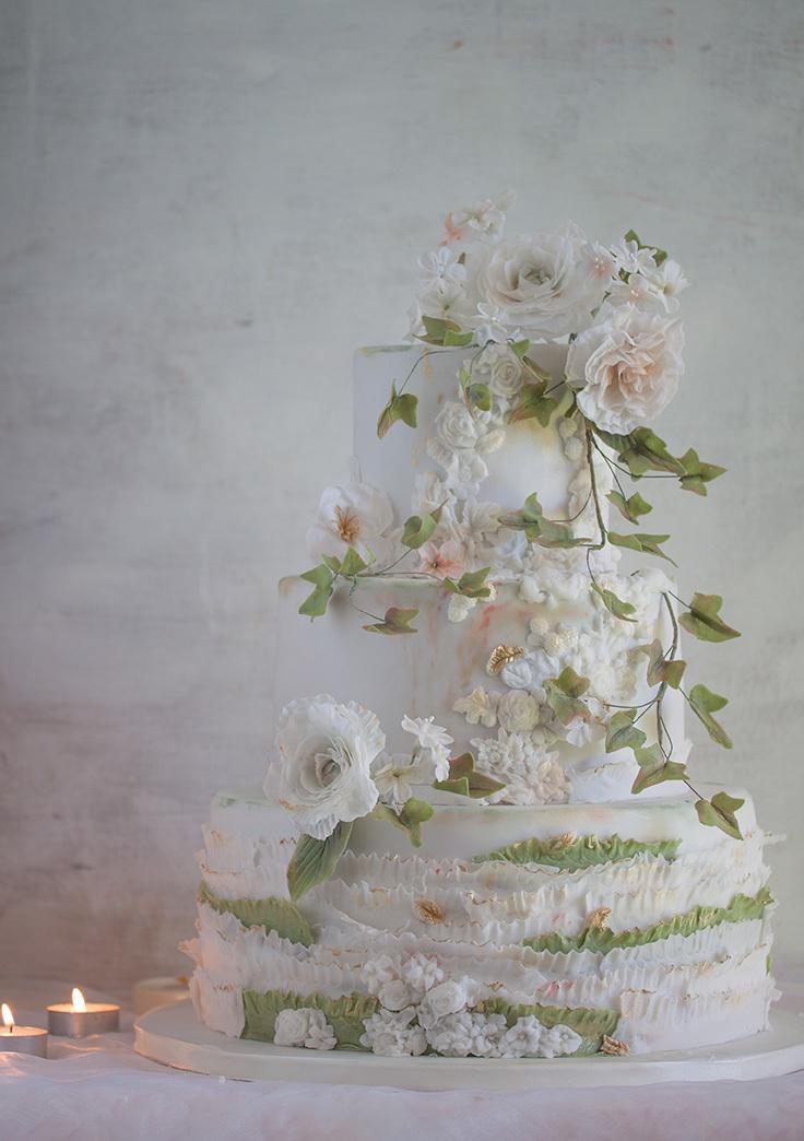 White & Green Ruffle Spring Wedding