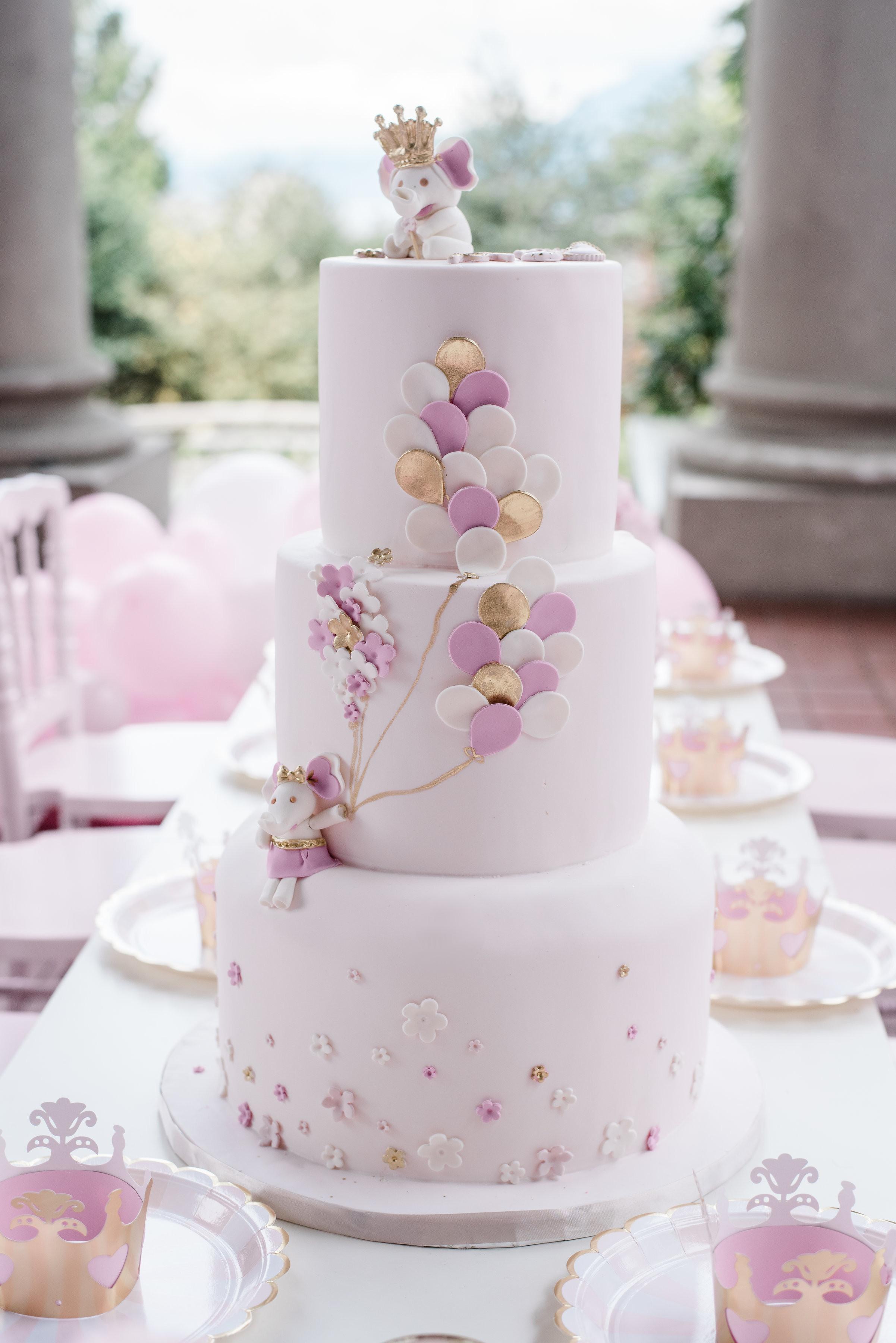 baby pink balloon 1st birthday fondant cake