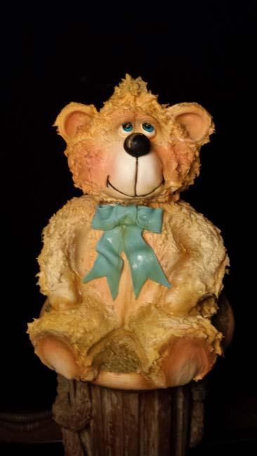 Airbrushed fondant teddy bear