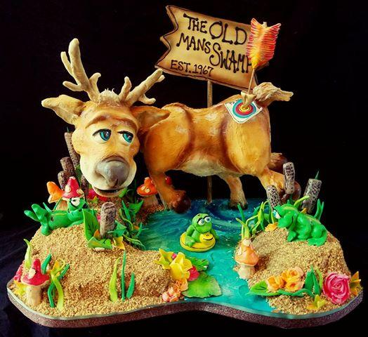 Hunting themed fondant birthday cake