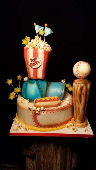 Topsy Turvy baseball birthday cake