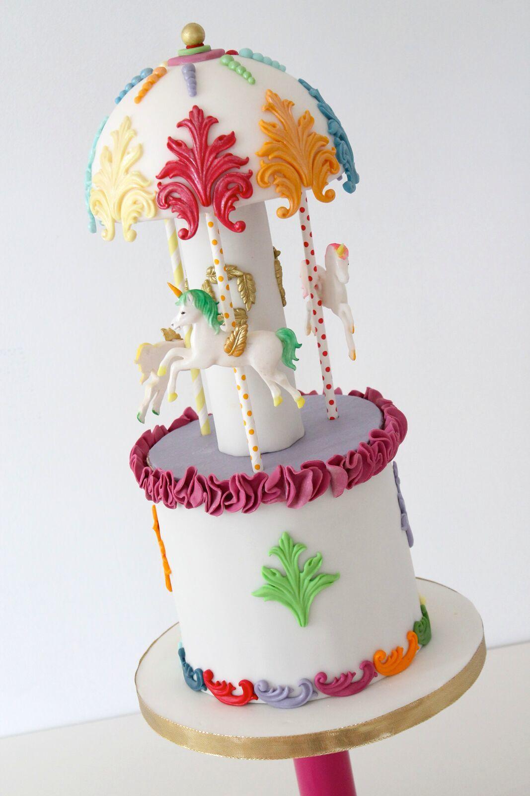 Horse carousel baby cake