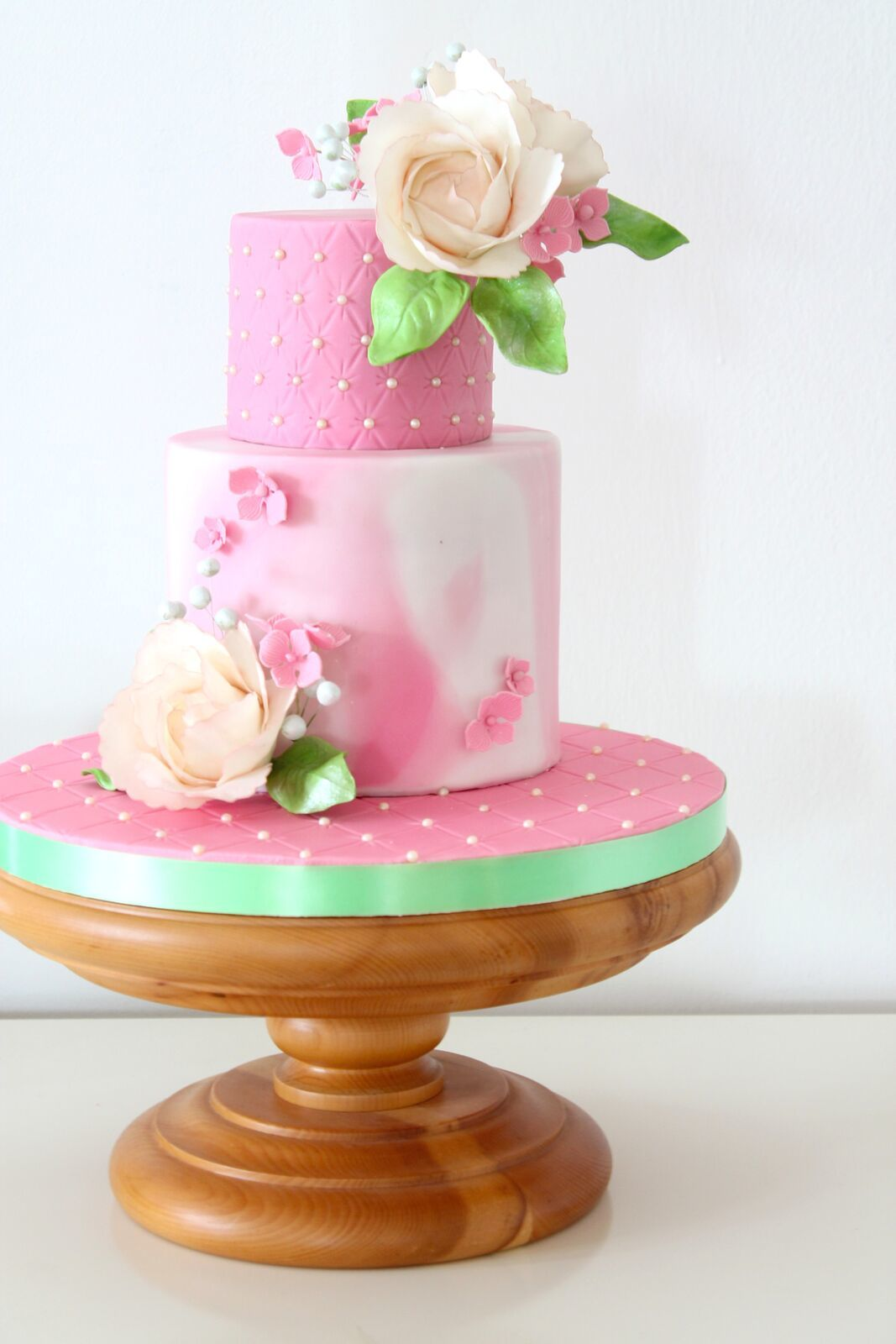 Pink watercolored fondant Wedding cake