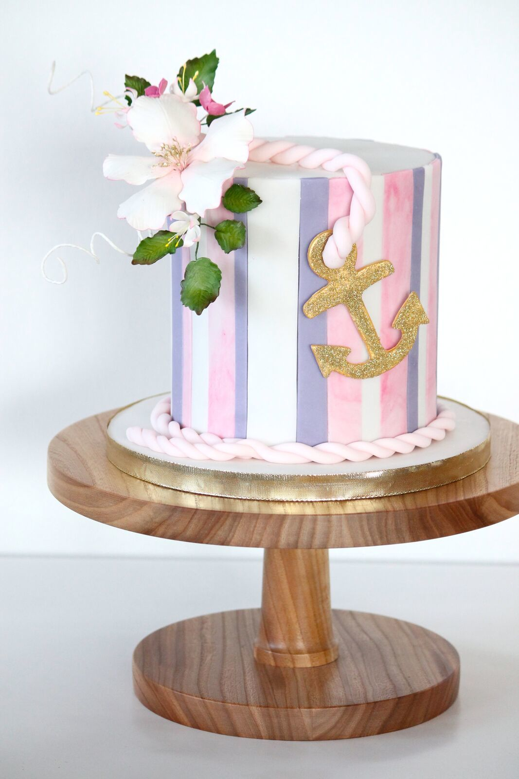 Pink and white Striped fondant Nautical Wedding