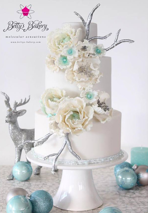 Winter White Wedding fondant wedding cake