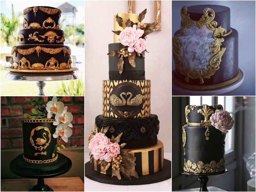 Black Wedding Cakes Satin Ice