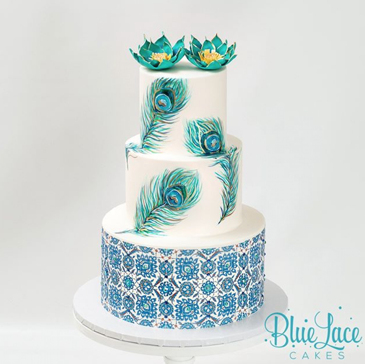 Blue and white mosaic pattern wedding cake