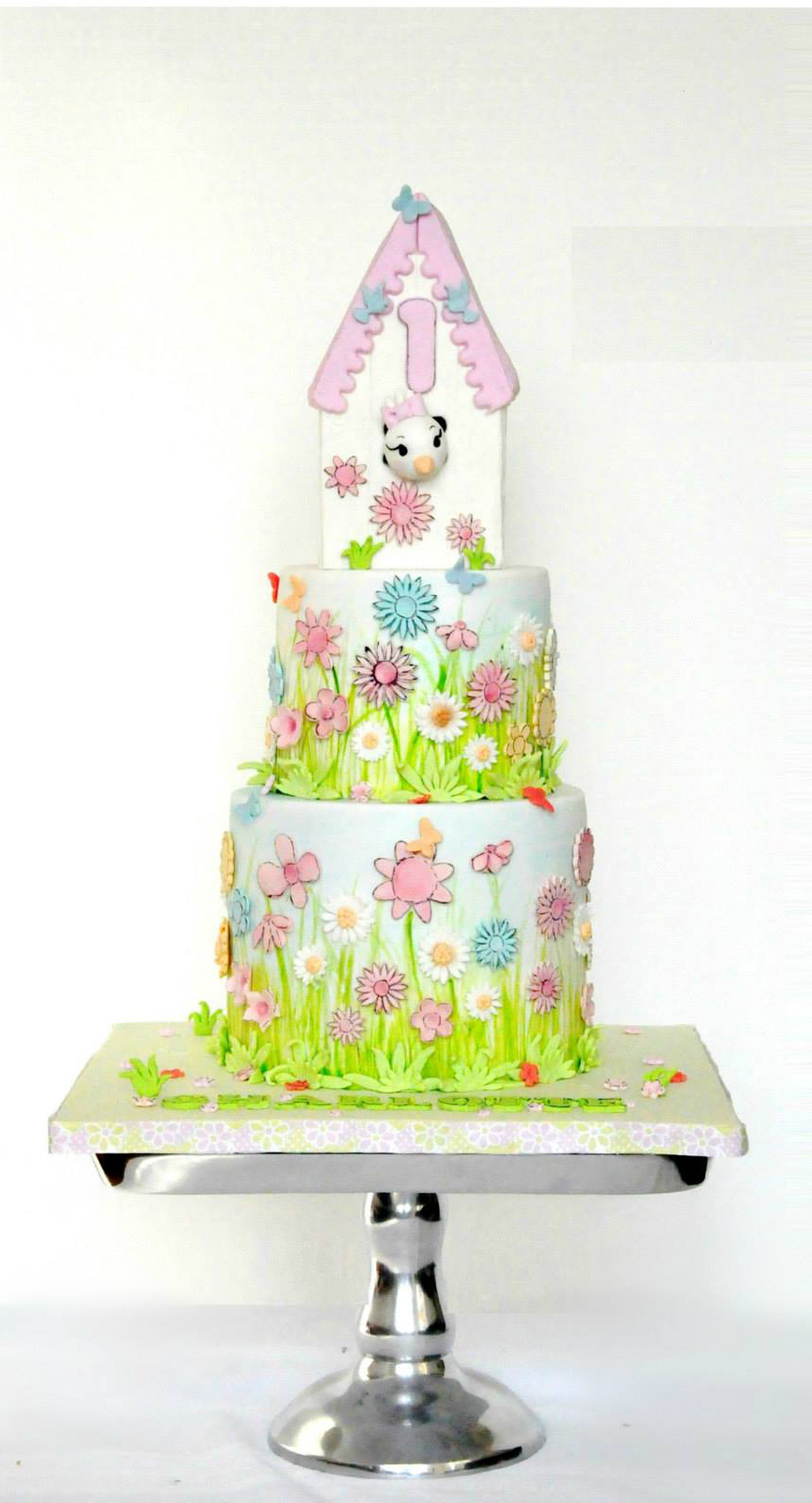 Bright green and white fondant bunny cake