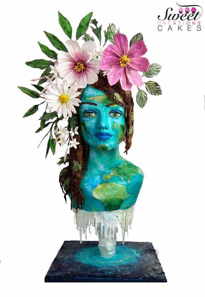 Mother nature sculpted fondant bust cake