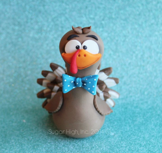 Thanksgiving turkey fondant topper