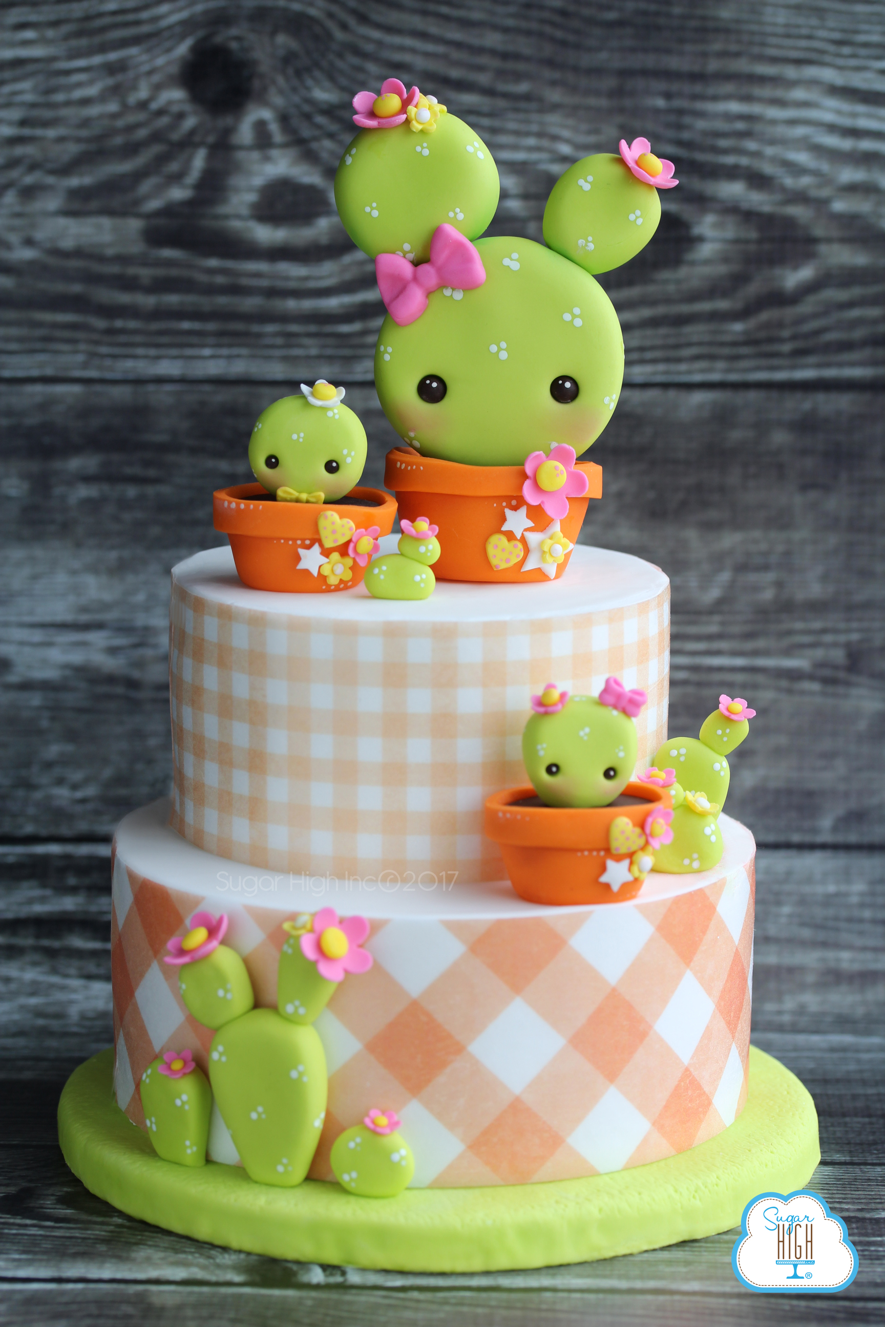 Orange and white plain cactus spring cake