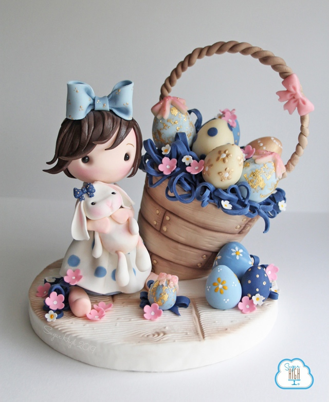 Easter basket figurine