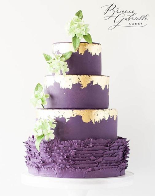 Purple with gold fondant wedding cakebr