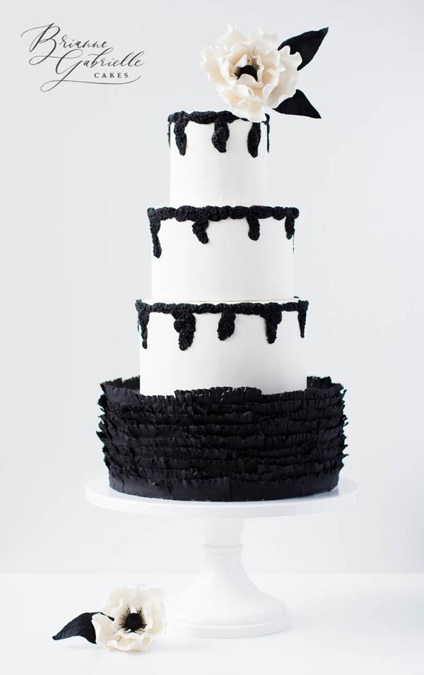Black & White fondant Wedding cake