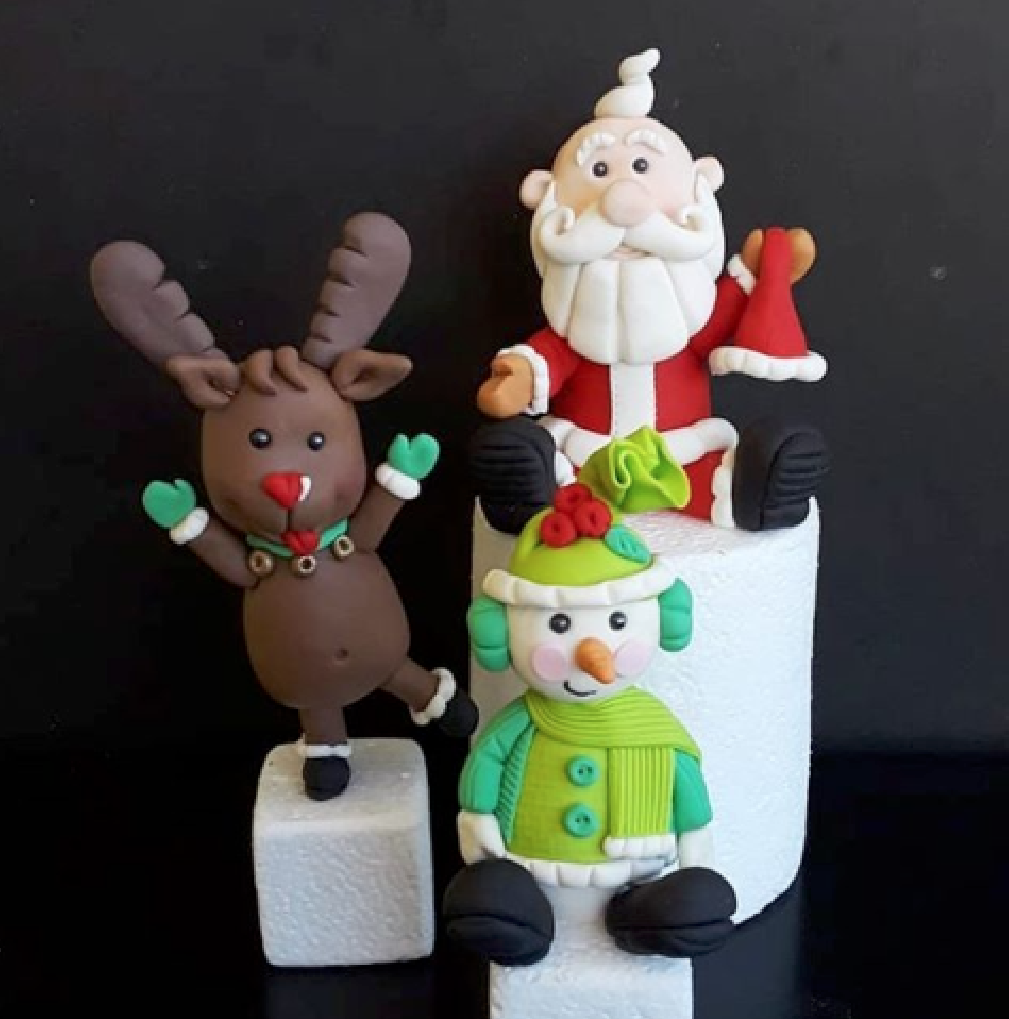 Santa and Reindeer cake topper