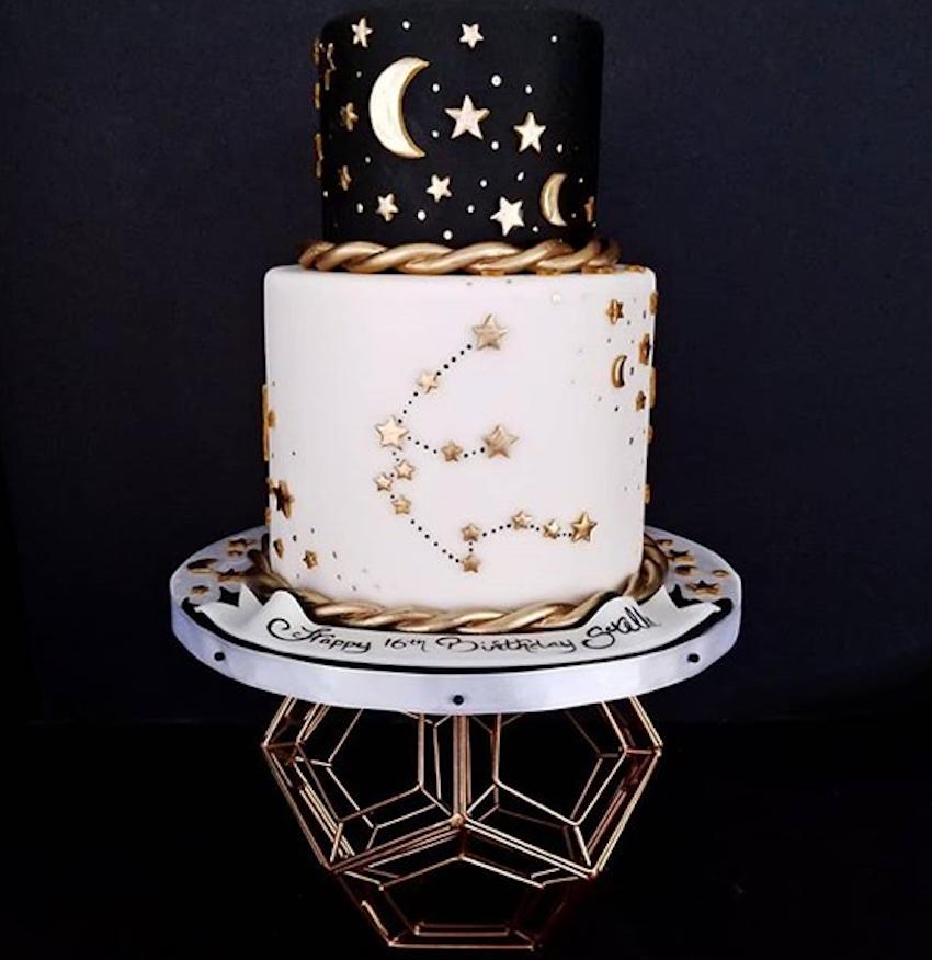 Black and white fondant celestial inspired fondant cake