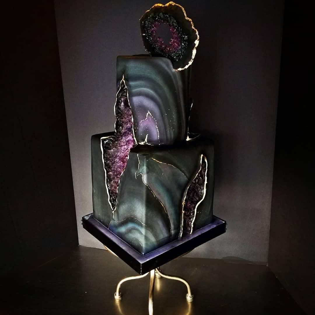 Black fondant rock geode cake