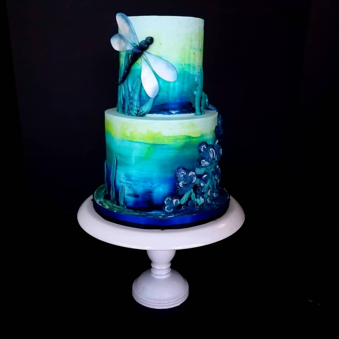 Handpainted dragonfly fondant cake