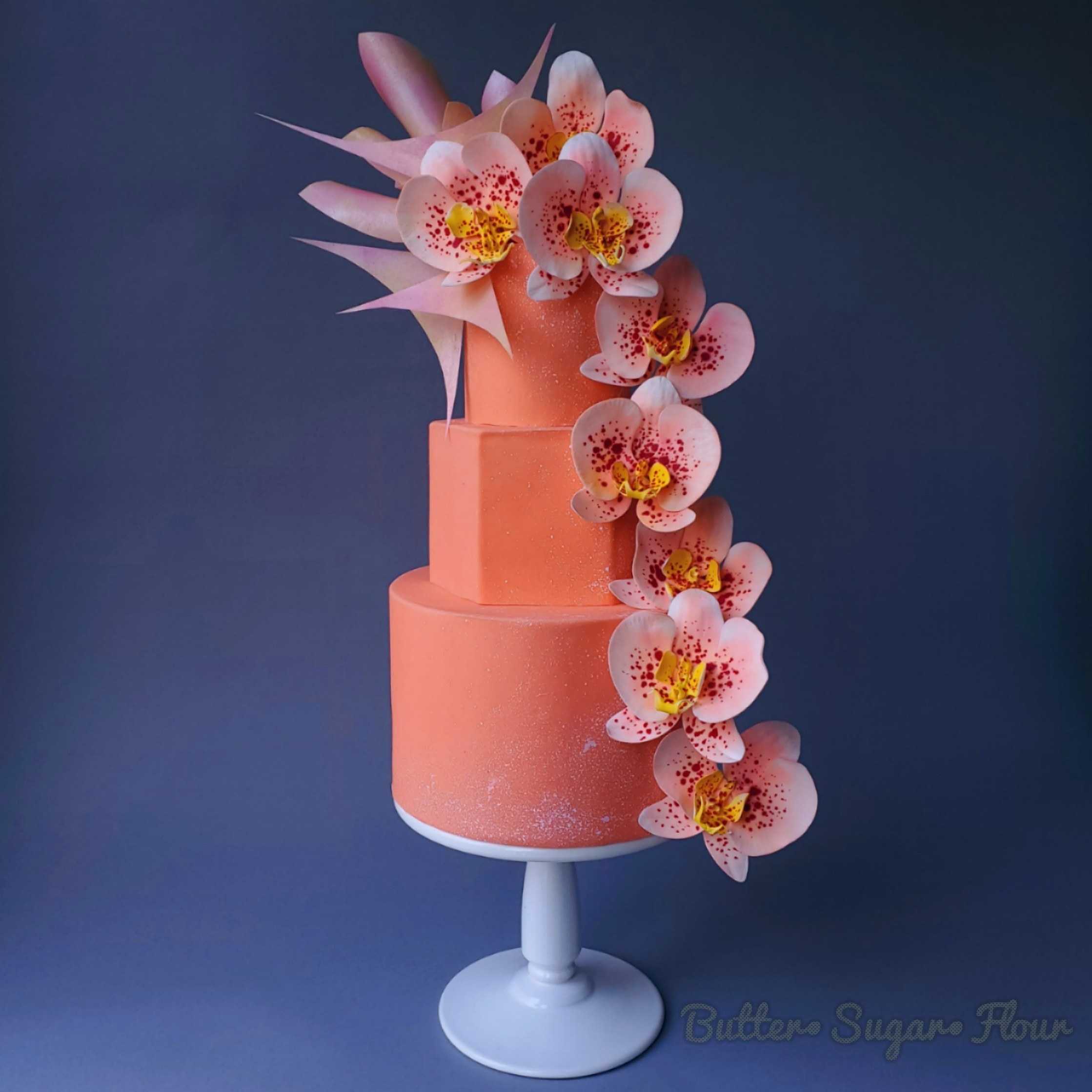 All coral fondant wedding cake