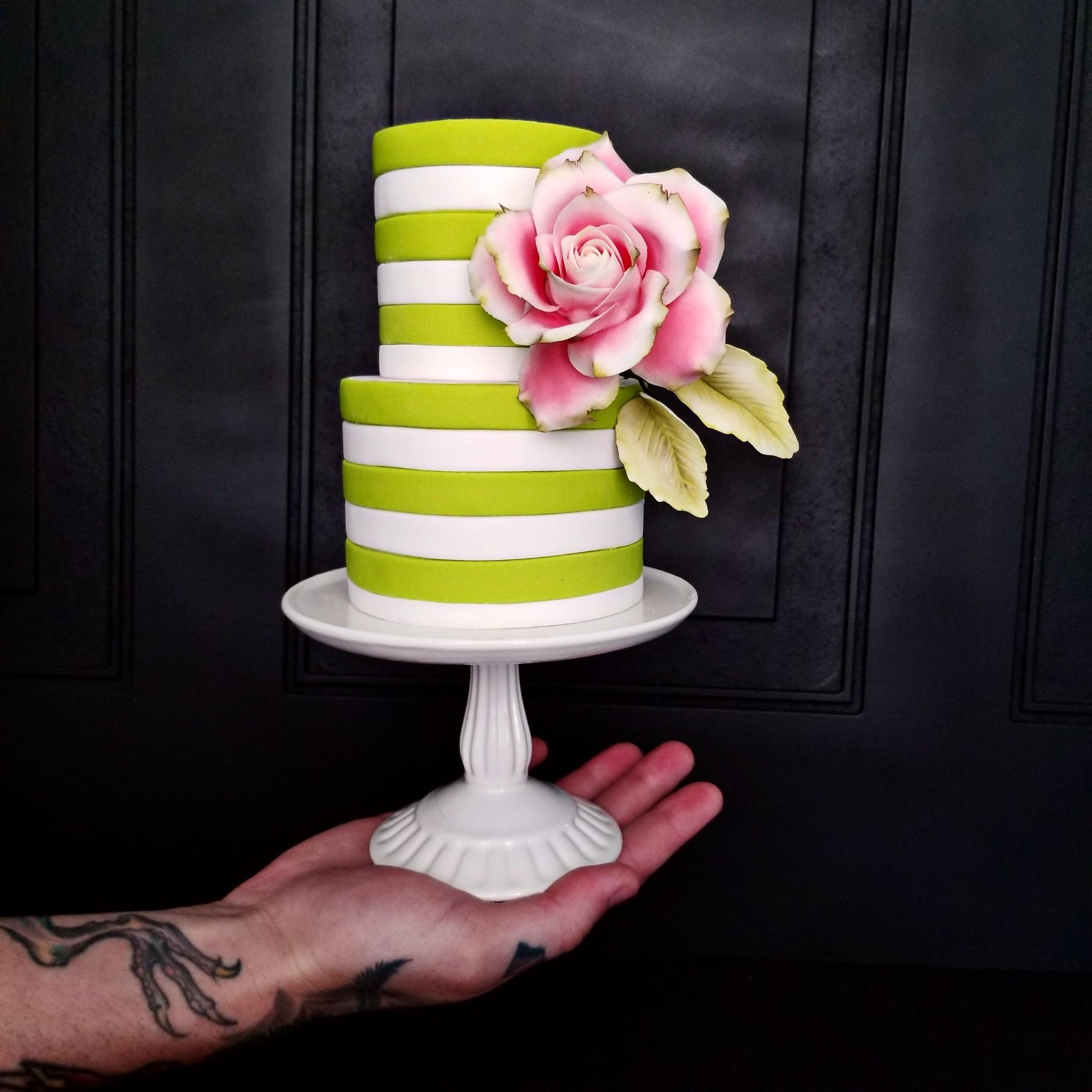 Bright Green and white striped fondant cake