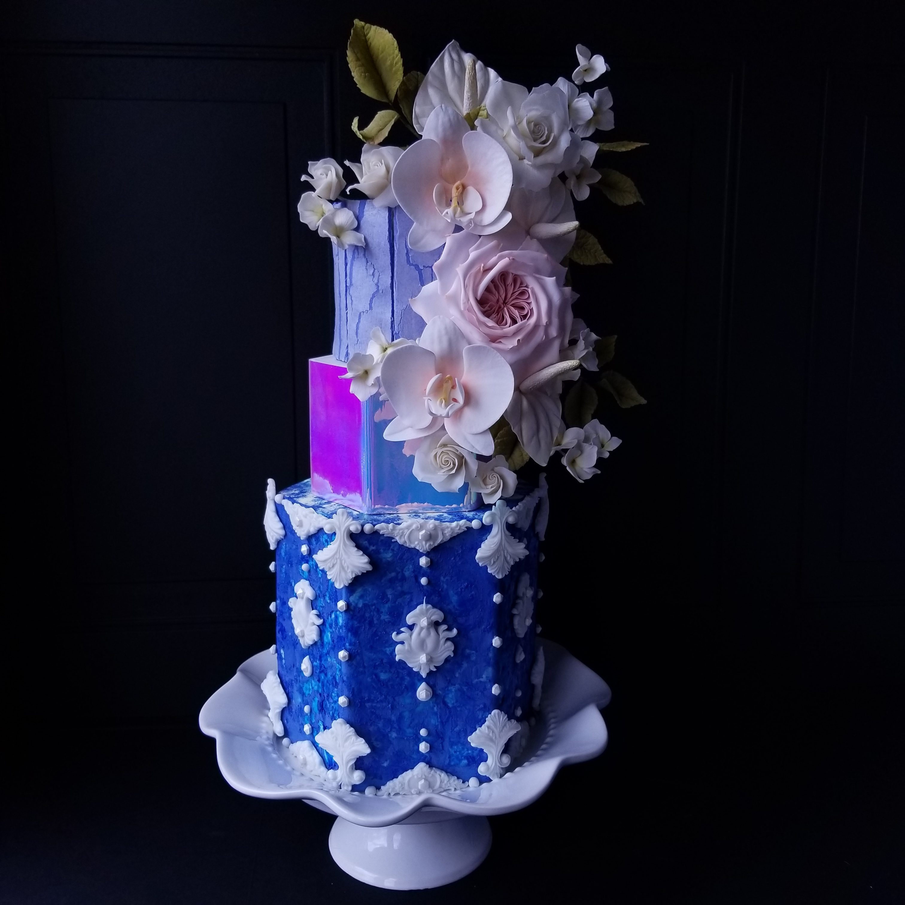 Blue and pink iridescence fondant wedding cake