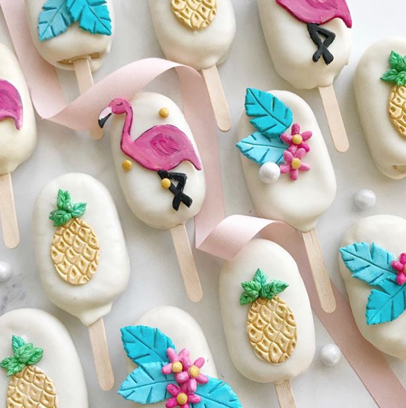 Flamingo & Pineapple Cake Pops decorated with fondant