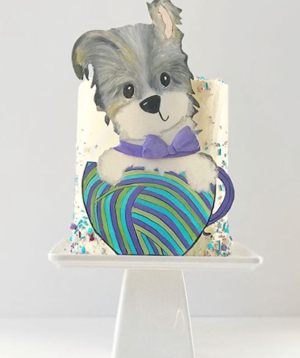 2d gray fondant puppy cake