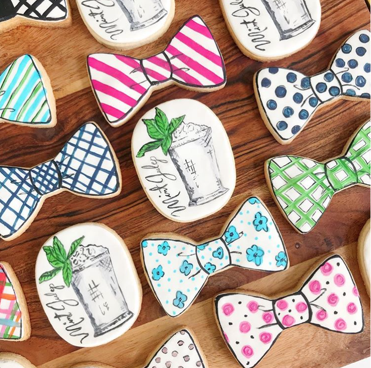 Bowtie shaped fondant cookies